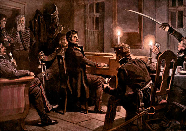 The Lutzow in the gift of God. Theodor Körner playing his sword song for his comrades on the night before his death