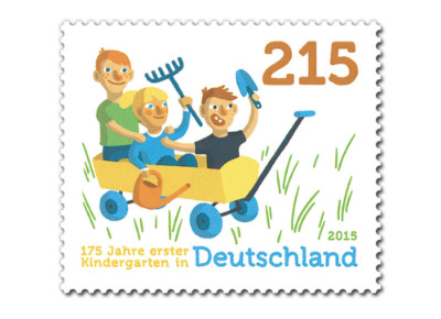 GERMANY     :: THEME: 175 years of Kindergarten      :: NOMINAL VALUE: 2.15€       :: ISSUE DATE: 11 June 2015         :: STAMP DESIGN: Lisa Röper
