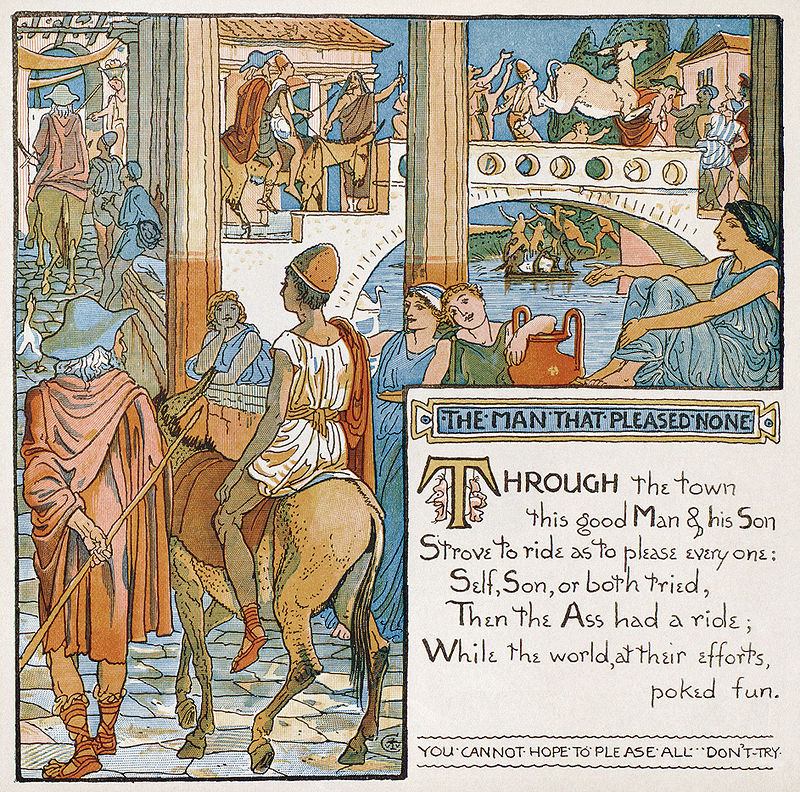 "Illustration by Walter Crane for ""The Man That Pleased None"" from Baby's Own Aesop, a children's edition of Aesop's fables 1887"
