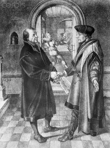 Original caption: Erasmus of Rotterdam in the print shop of his friend Johannes Froben of Basle. --- Image by © Corbis