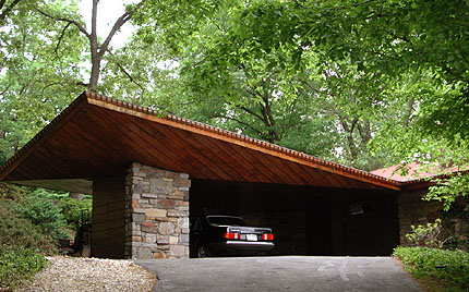 The Reisley house has a particularly fine carports, a word Wright created for this low cost innovation of his Usonian homes.
