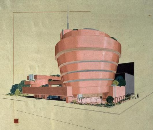 Early sketches by Frank Lloyd Wright imagine the Guggenheim Museum in various shades of red. Photo Credit: FLLW FDN # 4305.745 © 2009 The Frank Lloyd Wright Foundation, Scottsdale, Arizona