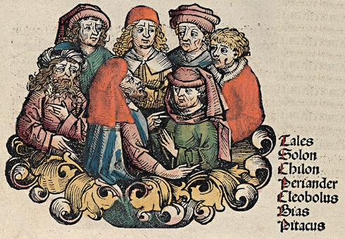 The Seven Sages, depicted in the Nuremberg Chronicle 1493